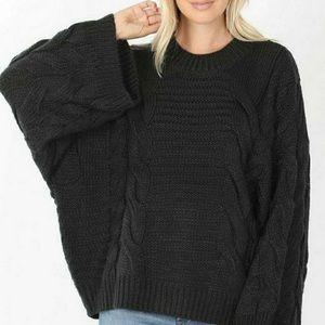 Black Bubble Sleeve Sweater